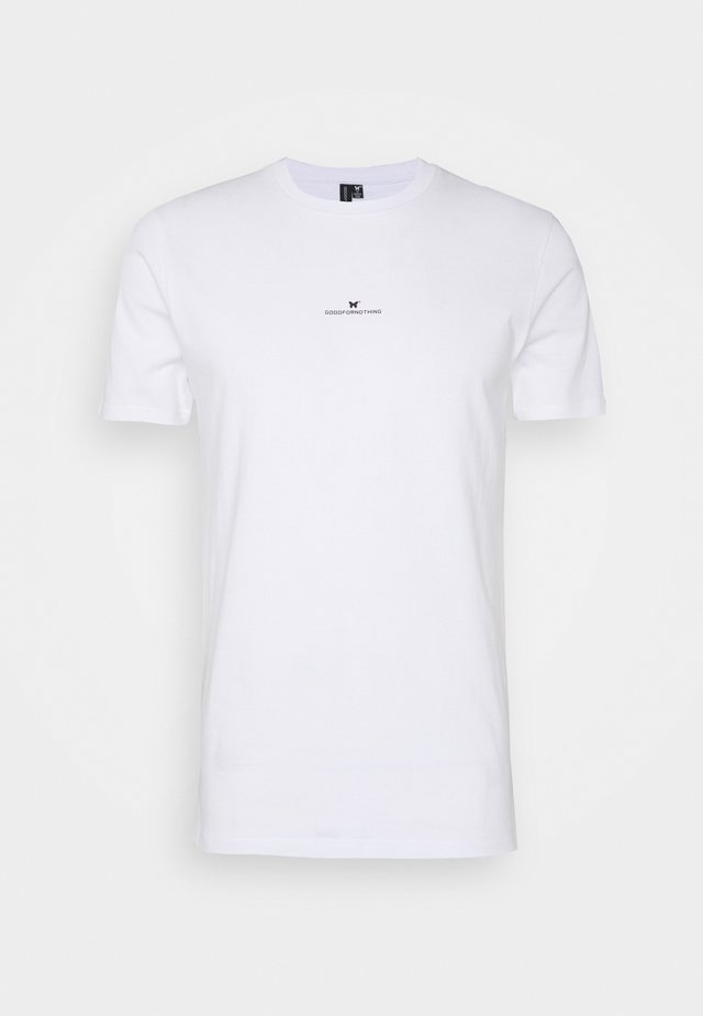 FITTED WITH STACKED BRANDING - T-shirt med print - white
