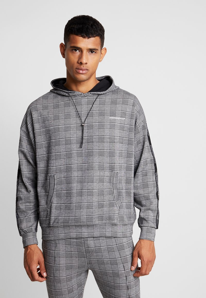 Good For Nothing - OVERSIZED PRINCE OF WALES CHECK HOOD WITH BRANDED TAPING - Mikina s kapucí - grey