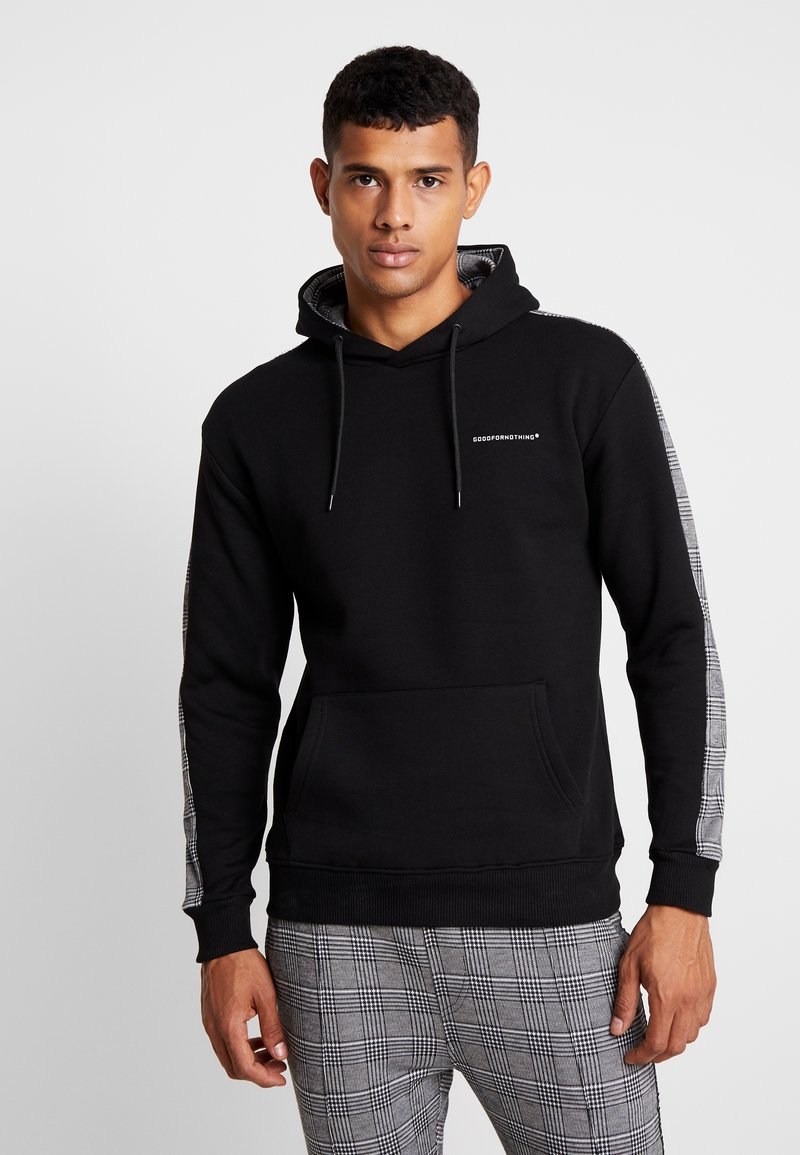 Good For Nothing - FITTED HOOD WITH GREY CHECK TAPING - Hoodie - black