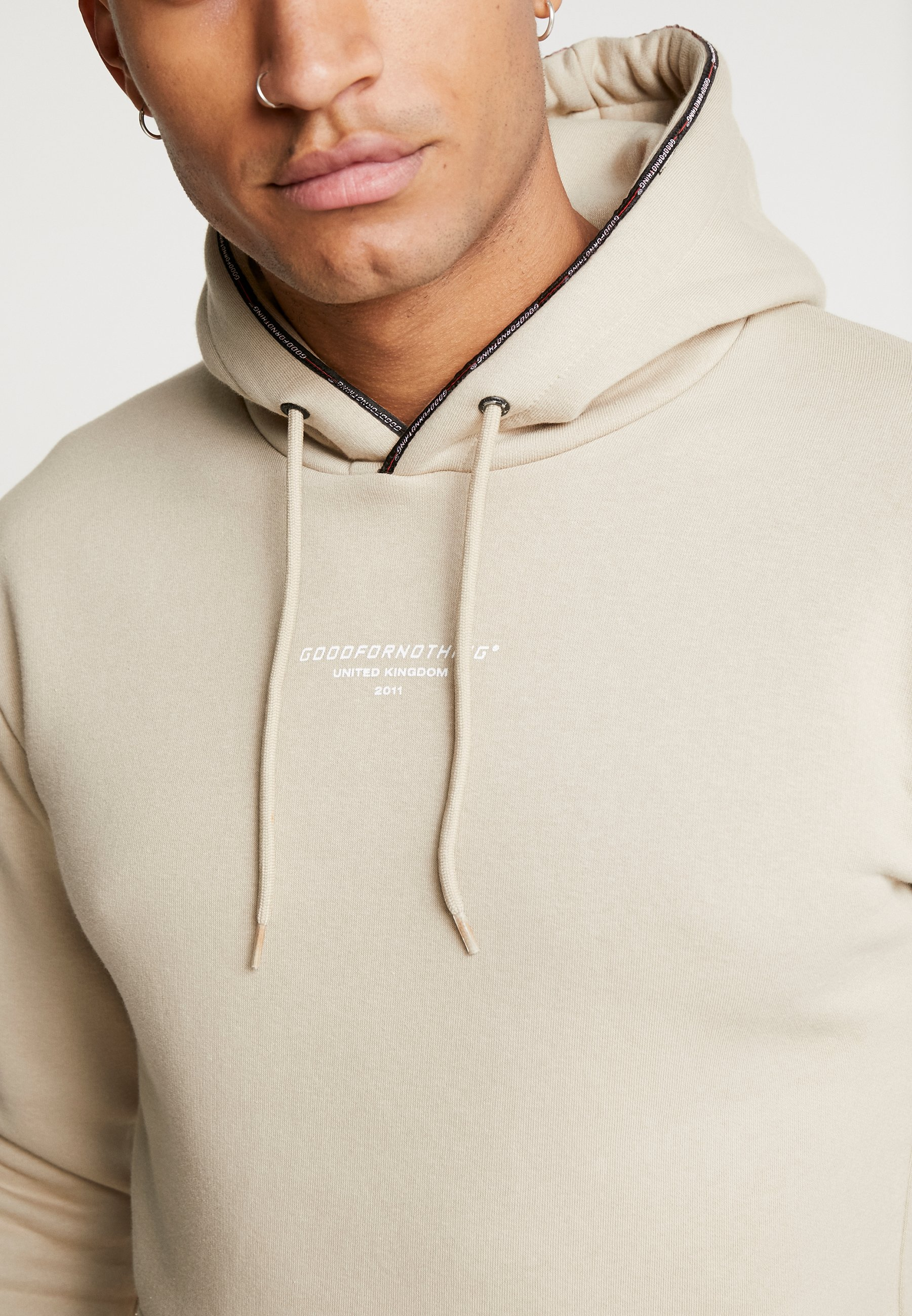 Good For Nothing Hoodie In Stone With Taping -