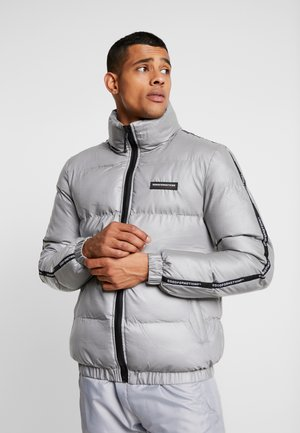 REFLECTIVE FUNNEL NECK PUFFER JACKET WITH BRANDED TAPING - Veste d'hiver - silver