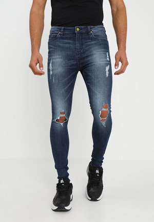 FADED DISTRESSED MID-RISE - Jeans Skinny - mid blue