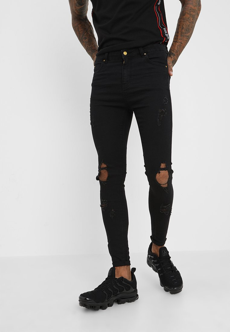 Golden Equation - FADED DISTRESSED MID-RISE - Jeans Skinny Fit - black