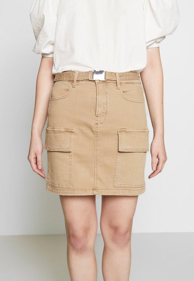 CARGO SKIRT - Denim skirt - khaki