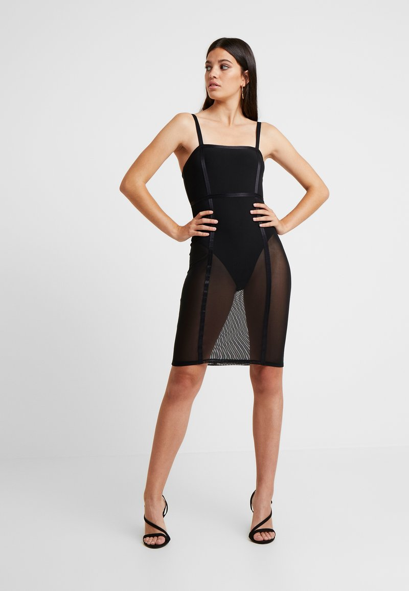 Good American - SHEER CONTOUR DRESS - Cocktailkjole - black