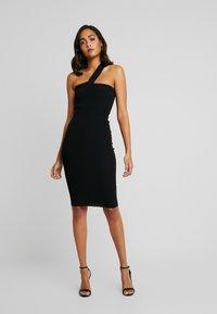 Good American - ASYM DRESS - Fodralklänning - black - 4