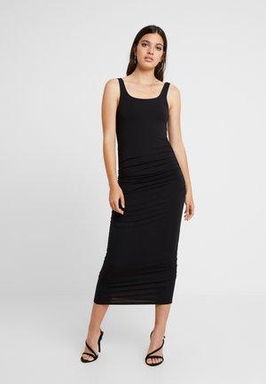 SQUARE NECK ROUCHED DRESS - Etuikjole - black