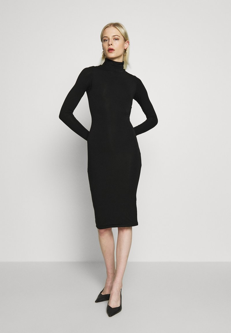 Good American - LONG SLEEVE TURTLE NECK DRESS - Etui-jurk - black