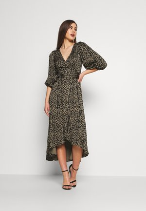 WRAP  - Day dress - sage leopard
