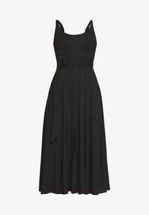 BELTED OPEN FRONT SWING TANK DRESS - Jerseykjole - black