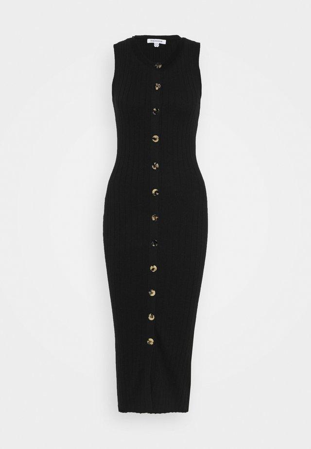 SNAP FRONT MIDI - Gebreide jurk - black