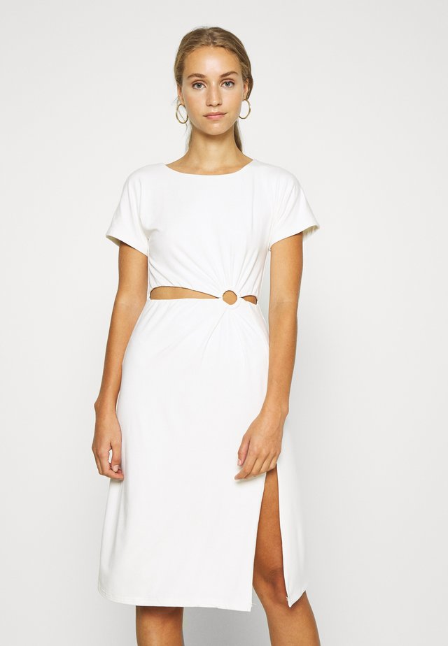 RING CUTOUT DRESS - Jerseyklänning - off white