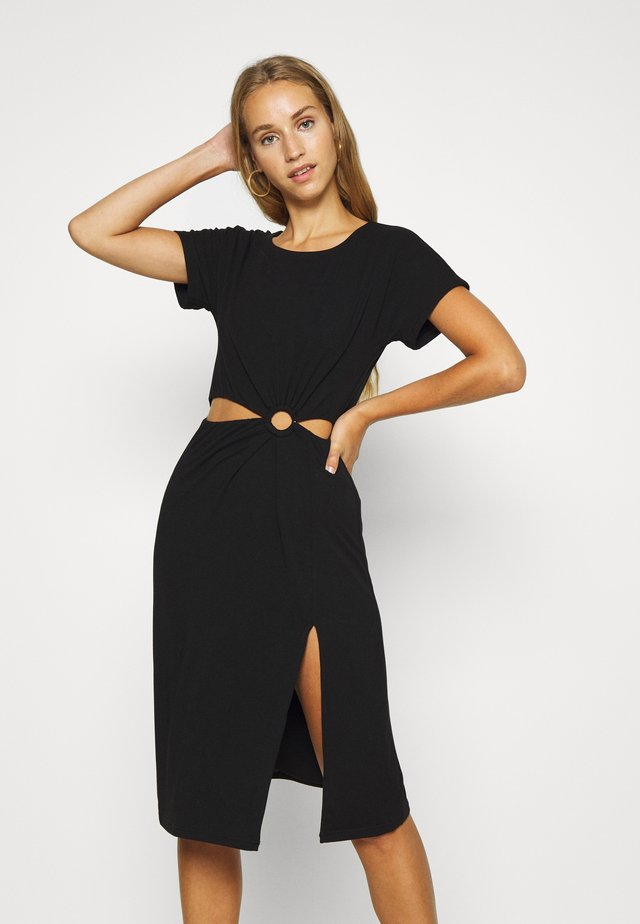 RING CUTOUT DRESS - Jerseyklänning - black