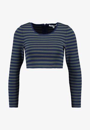 LONG SLEEVE STRIPE CROP - Top sdlouhým rukávem - dark blue