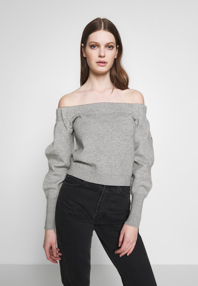 OFF SHOULDER SLIT SLEEVES - Stickad tröja - heathergrey