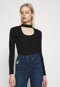 Good American - KEYHOLE - Long sleeved top - black - 0
