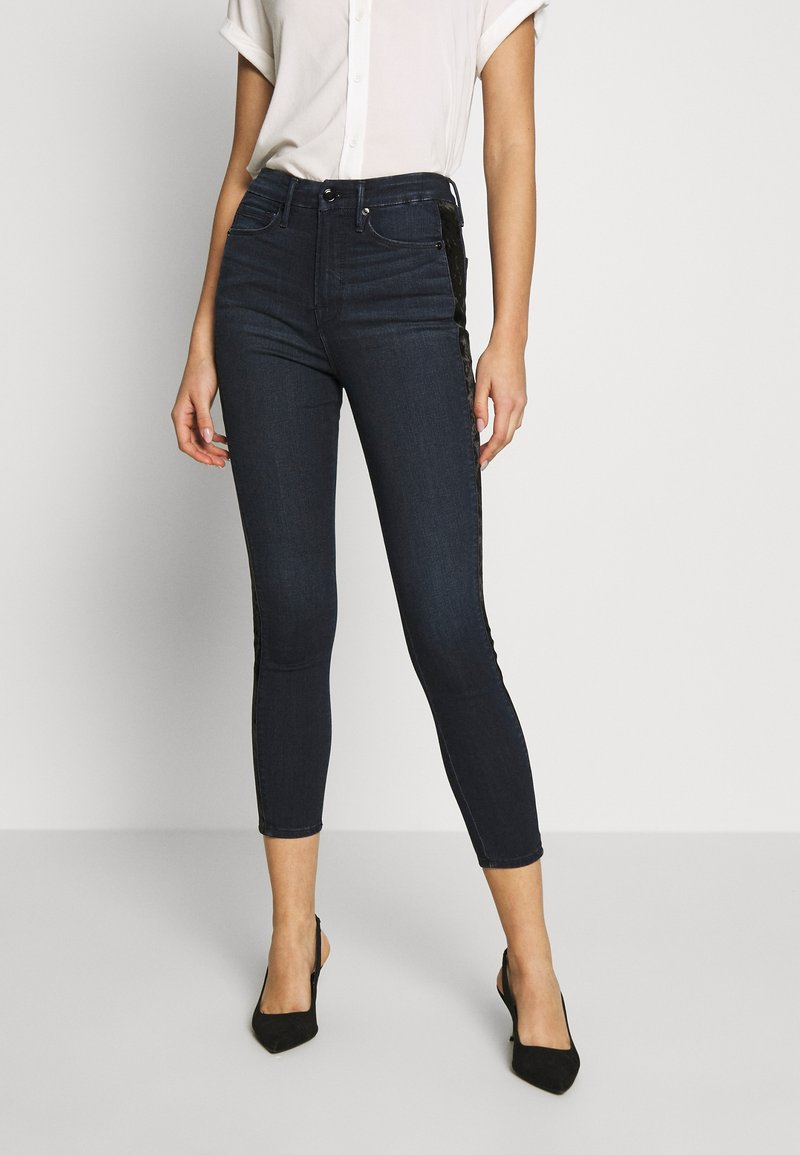 Good American - GOOD WAIST CROP CRUSHED VELVET TUXEDO - Jeans Skinny Fit - blue