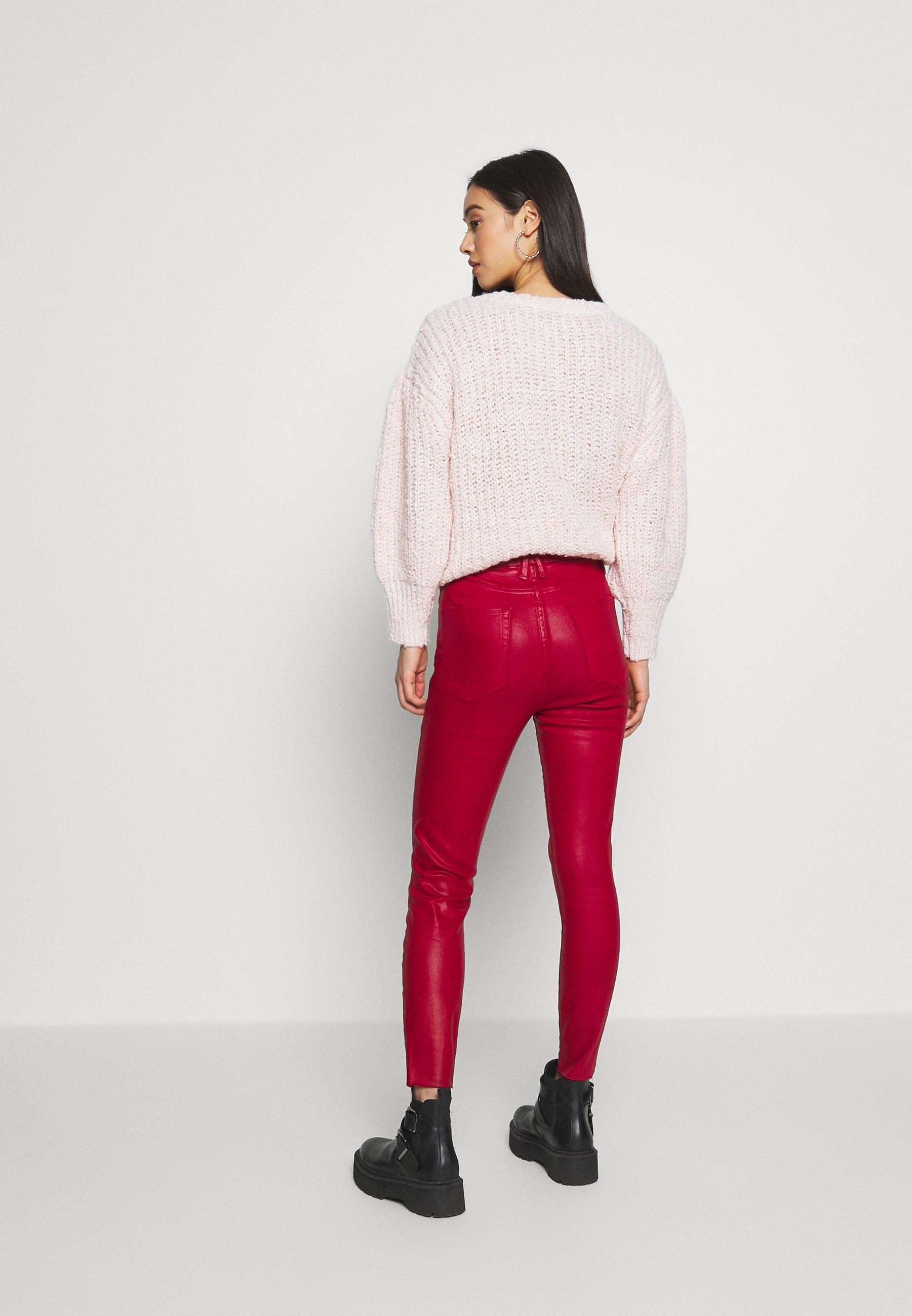 Good American GOOD WAIST CROP - Jeansy Skinny Fit - ruby