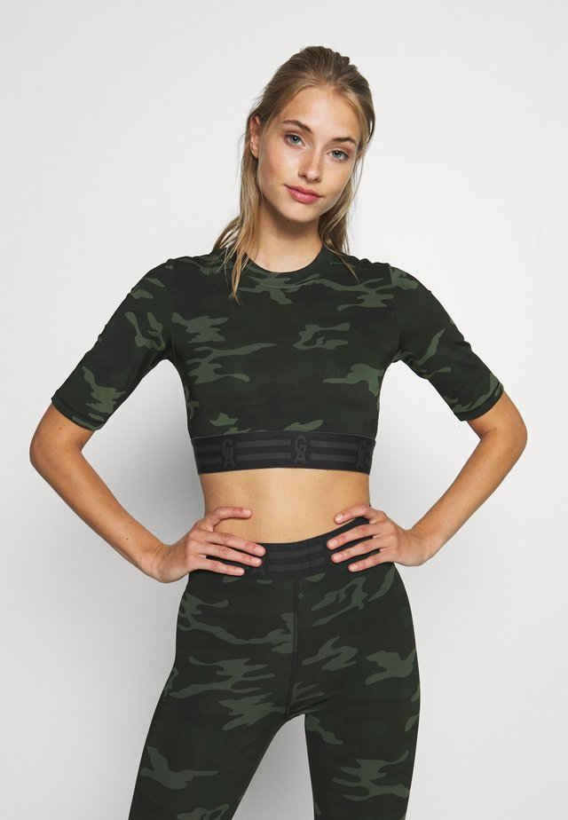 ICON CROP - T-shirt con stampa - khaki