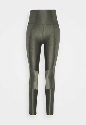 SHINY PANELED LEGGING - Medias - sage