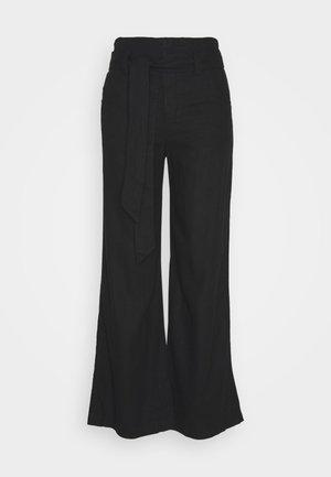 WIDE LEG SOLID - Trousers - true black
