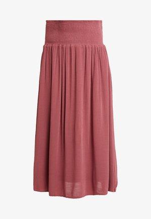 SMOCKED SKIRT - Maxi sukně - roan rouge