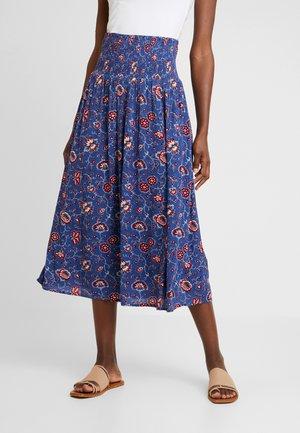 SMOCKED SKIRT - Maxi skirt - blue