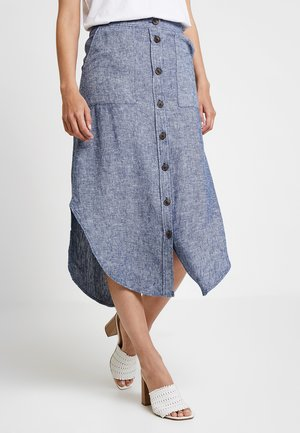 BUTTON FRONT MIDI SKIRT DELAVE - Maxi skirt - navy