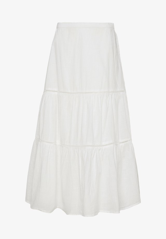 TIERD MIDI SKIRT - Spódnica trapezowa - optic white