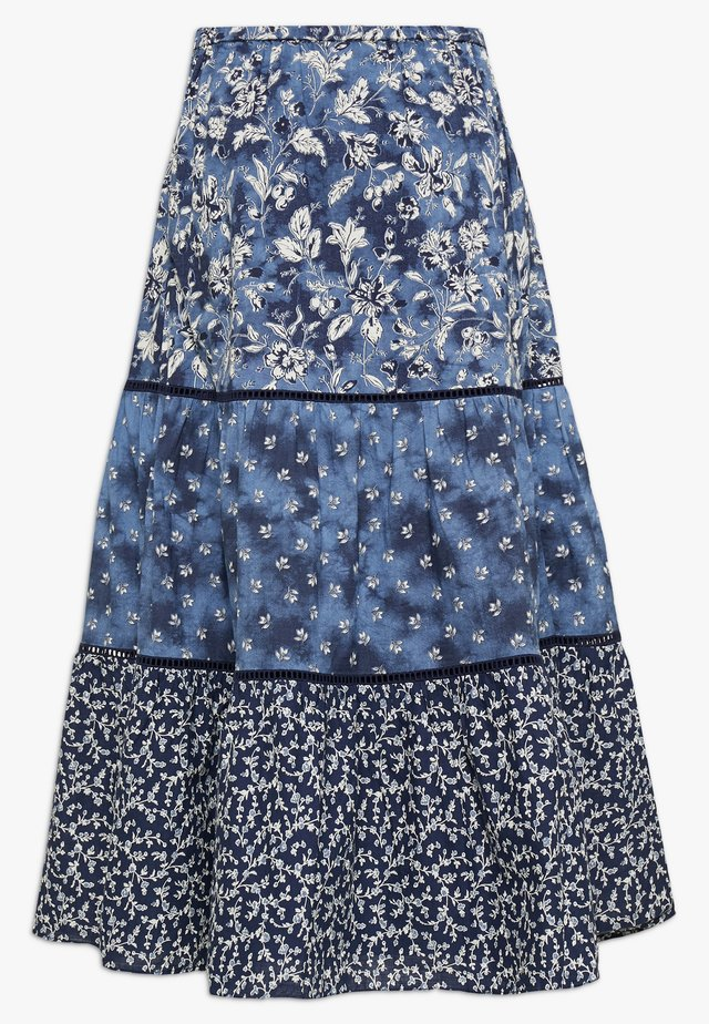 TIERD MIDI SKIRT - A-Linien-Rock - blue