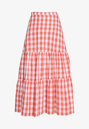 GINGHAM MIDI SKIRT - Spódnica trapezowa - orange
