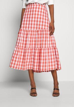 GINGHAM MIDI SKIRT - A-line skirt - orange