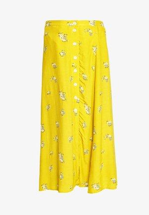 SIDE MIDI SKIRT - A-line skirt - yellow