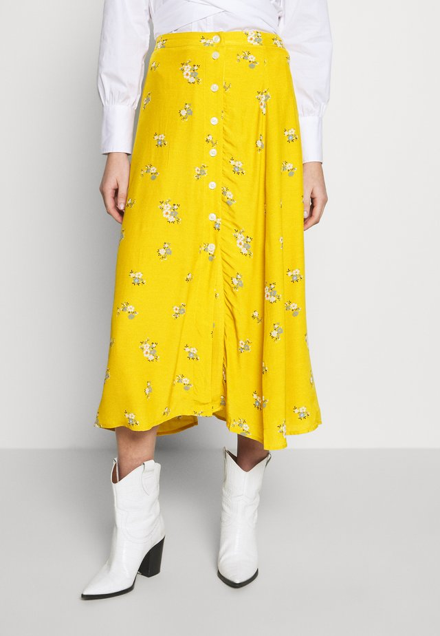 SIDE MIDI SKIRT - Spódnica trapezowa - yellow