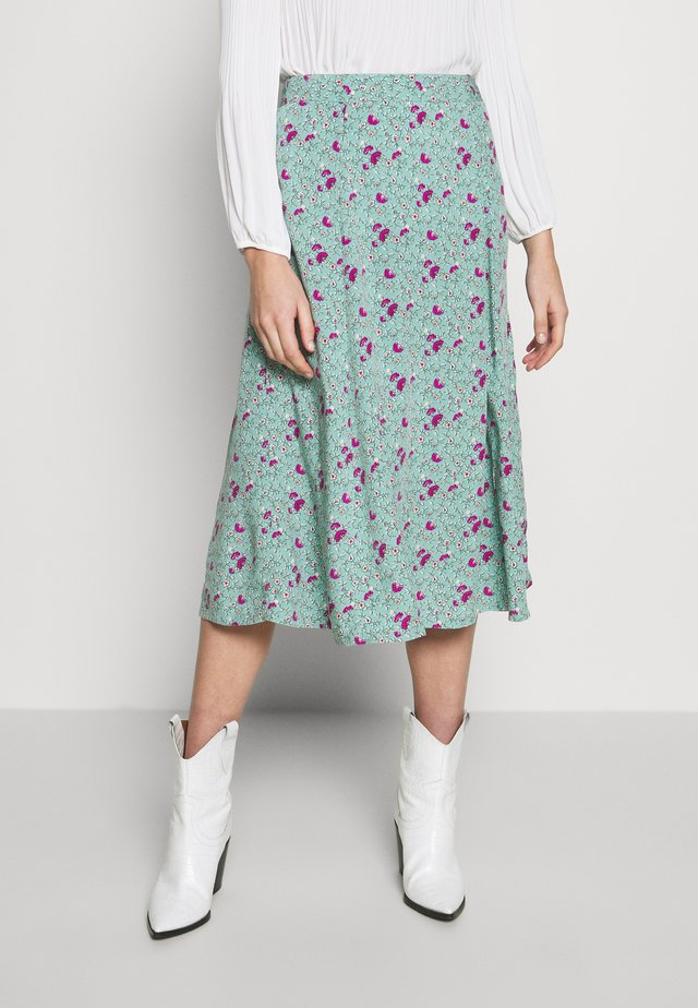 MIDI CIRCLE SKIRT - A-line skirt - stem green floral