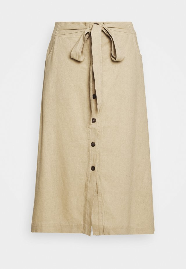 V TIE FRONT MIDI SKIRT - A-Linien-Rock - new sand