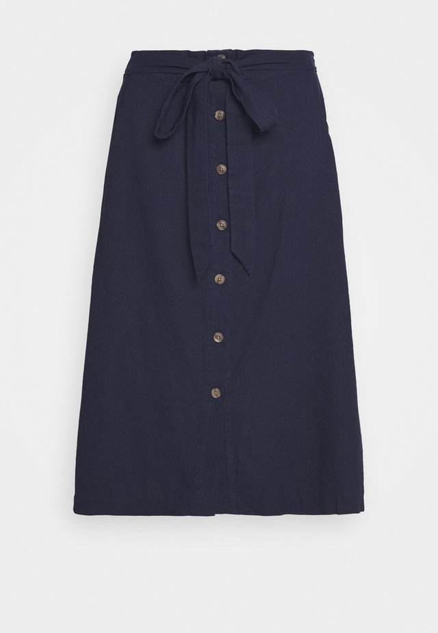 V TIE FRONT MIDI SKIRT - A-Linien-Rock - navy uniform