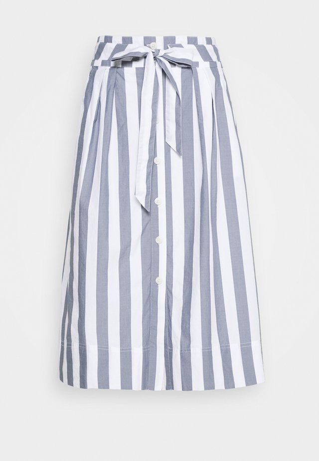 FRONT TIE SKIRT - A-Linien-Rock - blue/white