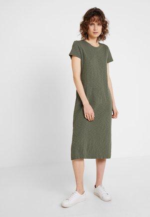 MIDI DRESS - Jersey dress - tweed green