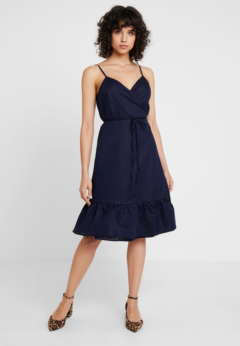 GAP - CAMI RUFFLE WRAP - Day dress - navy uniform