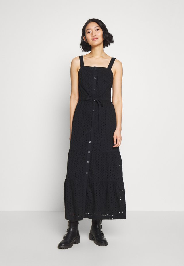 EYELET APRN MAXI DRESS - Długa sukienka - true black