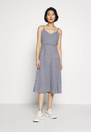 V CAMI MIDI - Day dress - navy gingham