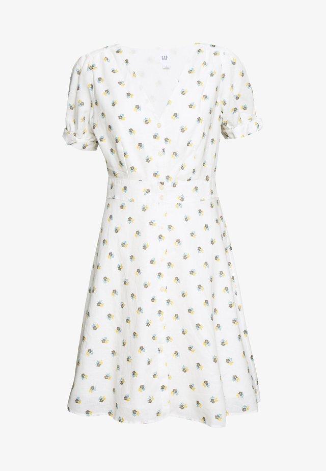 TIE SLEEVE MINI DRESS - Robe chemise - white