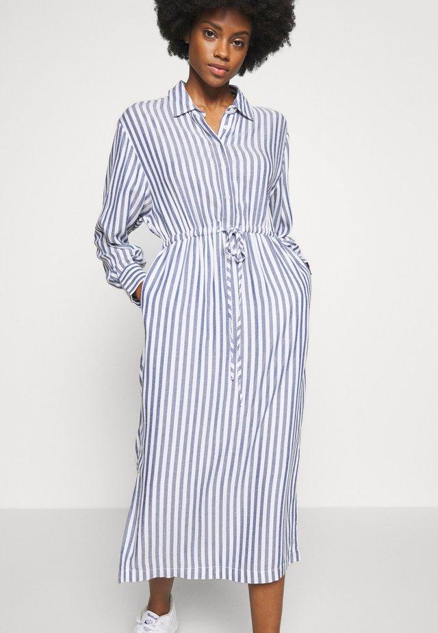 DRAPY MIDI - Shirt dress - blue/white