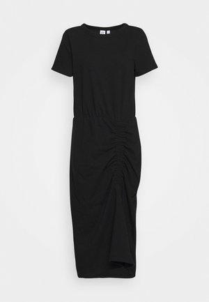 RUCHED MIDI - Žerzejové šaty - true black