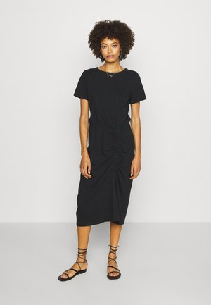 RUCHED MIDI - Vestito di maglina - true black