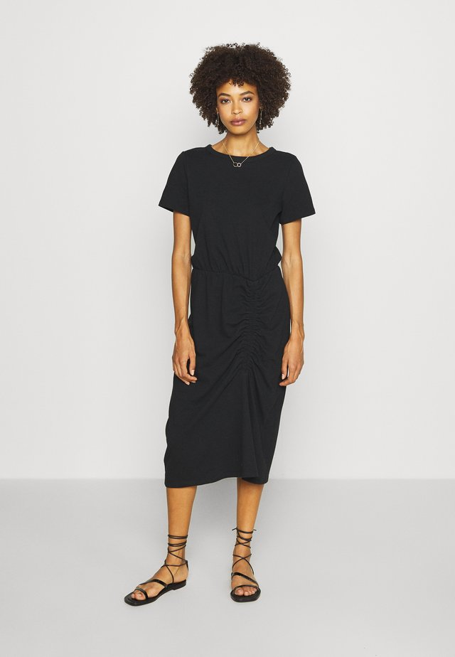RUCHED MIDI - Jerseyjurk - true black