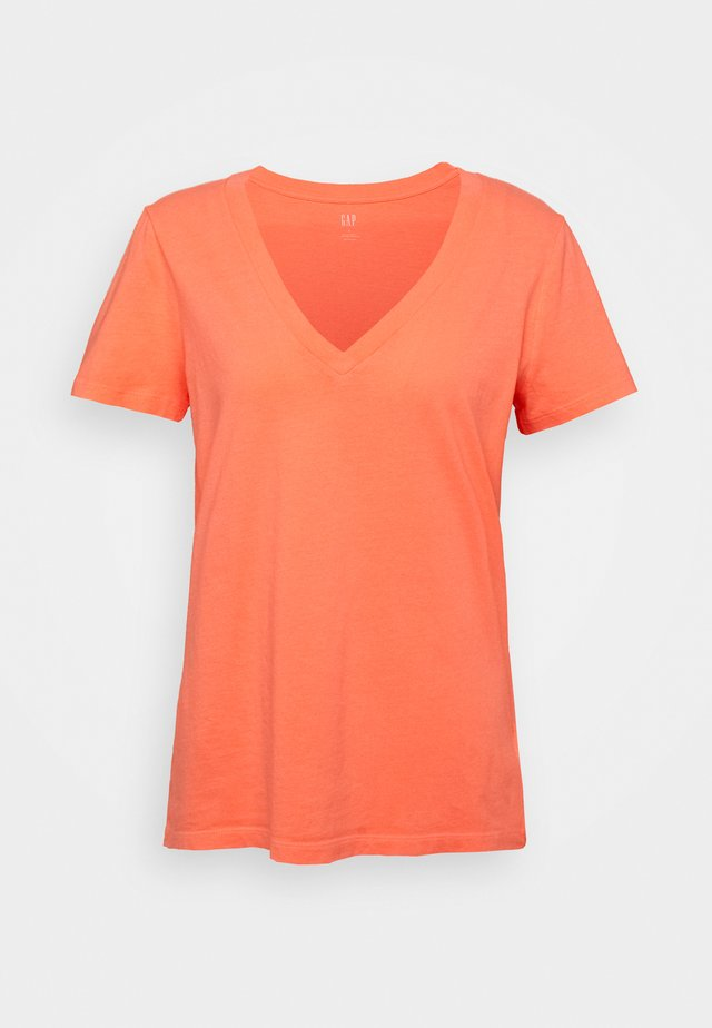 VINT - T-shirt con stampa - neon coral flame
