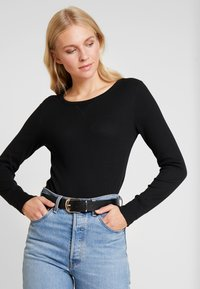 GAP - WAFFLE TEE - T-shirt à manches longues - true black - 0