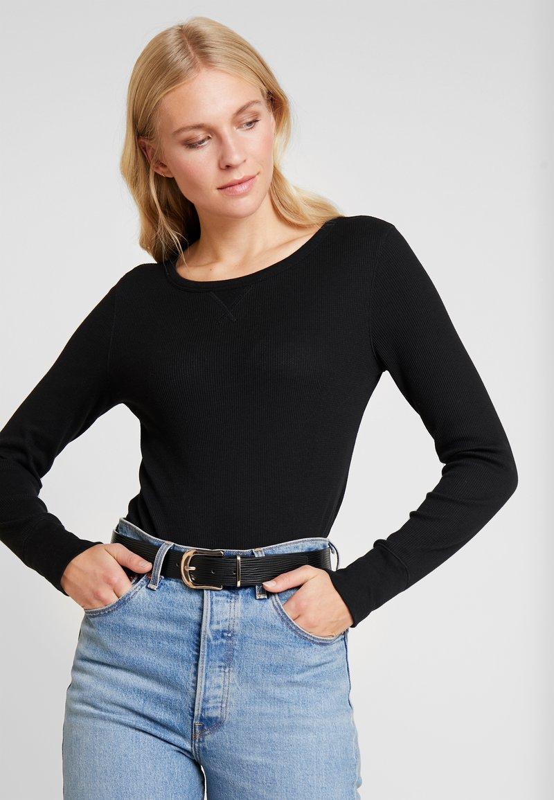 GAP - WAFFLE TEE - T-shirt à manches longues - true black